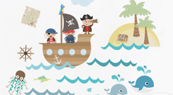 Adesivo de Parede Infantil Piratas